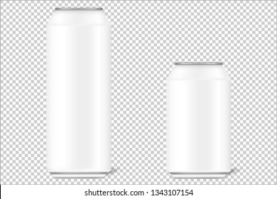 Mock up 3d cans of 330 ml and 500 ml for beer, alcohol, soft drinks, carbonated drinks, cola, energy drinks with realistic shadows. The background is transparent. Can be used for your design. Vector i