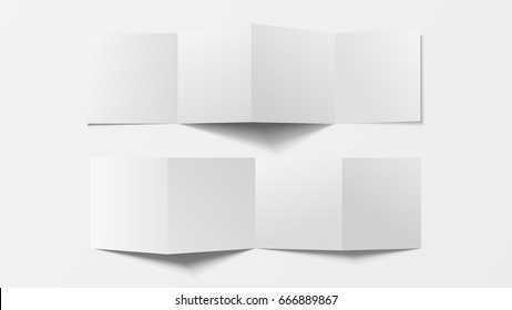Mock up 3d leaflet blank. Top view . For brochure, leaflet, pamphlet, handbill design, catalog template, magazine layout, printing template. White color with soft shadow. Vector illustration.