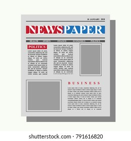 Mock up of a blank Newspaper or headline text and pictures