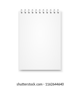 Mock up blank notebook with metal spiral template isolated on white background.