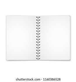 Mock up blank open notebook with metal spiral template isolated on white background.