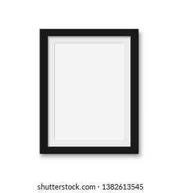 Mock up blank picture frame for photographs. Isolated vector illustration on white background.