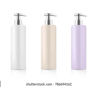 Mock up cosmetic set. Blue white beige and violet bottle with silver metallic dispenser for cream soap gel shampoo etc. Beauty product package template. Vector illustration