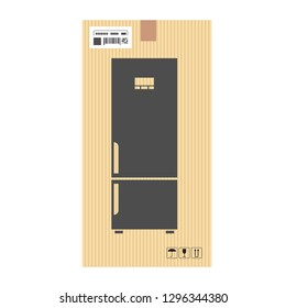 Mock up of Fridge in carton box. Moving and delivery services. Vector illustration