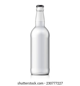 Mock Up Glass Beer Clean Bottle On White Background Isolated. Ready For Your Design. Product Packing. Vector EPS10