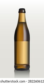Mock Up Glass Beer Lemonade Cola Clean Bottle Yellow Brown On White Background Isolated. Ready For Your Design. Product Packing. Vector