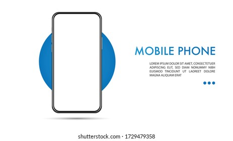Mock up mobile phone design Which Copy space on Isolated on White background , Victor Illustration eps 10