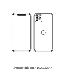 Mock up of Iphone 11 Pro and Pro Max  smartphone in flat simple design - vector graphic illustration.  Front and back side with blank screen isolated on white background.