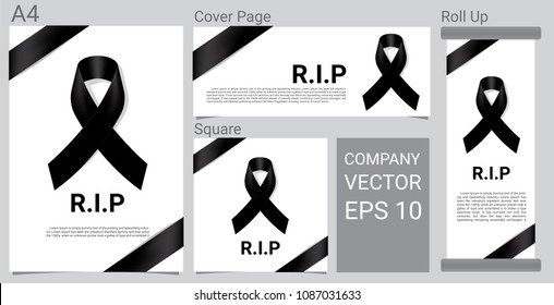 Mock up Mourning symbol with Black Respect ribbon on white background Banner. RIP Funeral card Vector Illustration.