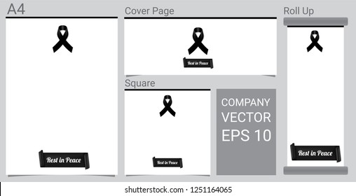 Mock up Mourning symbol with Black Respect ribbon on white background Banner. Rest in Peace Funeral card Vector Illustration.