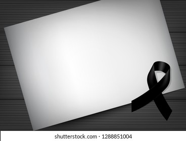 Mock up Mourning symbol with Black Respect ribbon and Paper on Wood background Banner. Rest in Peace Funeral card Vector Illustration.