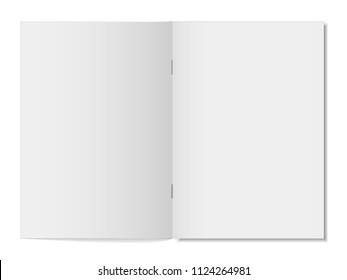 Mock up opened magazine, notebook, journal, booklet, postcard, flyer, brochure . Vector illustration.