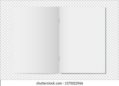 Mock up opened magazine, notebook, journal, booklet, postcard, flyer, brochure on transparent background . Vector illustration.