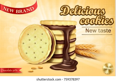 Mock up packaging, ad for chocolate sandwich cookies, realistic vector illustration. Cookies with filling, pouring melted chocolate and lying wheat ears, sweet crispy cookies with chocolate cream