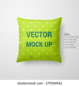 Mock Up of a Pillow in Lime Color Isolated on White Background