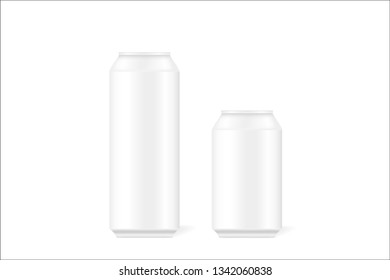 Mock up of realistic 3d tin cans for beer, alcohol,  carbonated drinks, soft drinks, colas, energy drinks. Can be used for your design. Vector illustration.