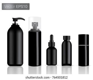 Mock up Realistic Black Bottles Set Background Illustration