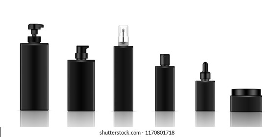 Mock up Realistic Black Cosmetic Soap, Shampoo, Cream, Oil Dropper and Spray Bottles Set for Skincare Product Background Illustration