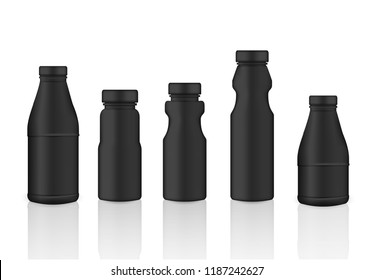 Mock up Realistic Black Plastic Packaging Product For Milk,  Soft Drink or Water Juice Bottle isolated Background.