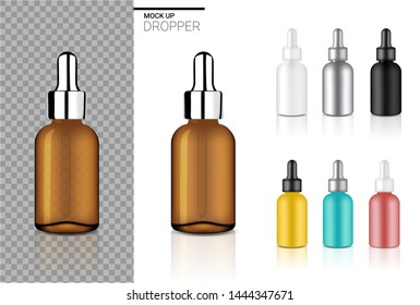 Mock up Realistic Dropper Bottle Cosmetic Set Template with black, Transparent Amber, Silver, Rose gold, Blue and Yellow Colour For Oil or Perfume on White Background Illustration