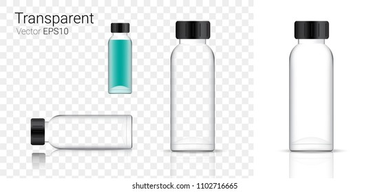Mock up Realistic Glass Transparent Packaging Product For Cosmetic Beauty or Medicine Bottle isolated Background.