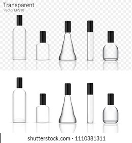 Mock up Realistic Glass Transparent Packaging Product For Cosmetic Beauty or Alcohol Bottle isolated Background.