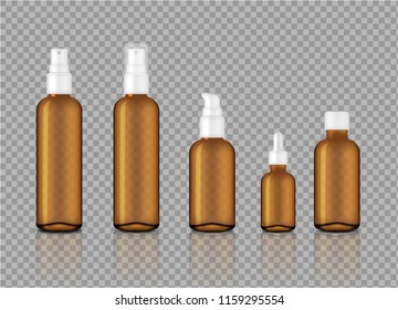 Mock up Realistic Glossy Amber Transparent Glass Cosmetic Soap, Shampoo, Cream, Oil Dropper and Spray Bottles Set for Skincare Product Background Illustration