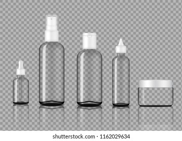 Mock up Realistic Glossy Transparent Glass Cosmetic Soap, Shampoo, Cream, Oil Dropper and Spray Bottles Set With White Cap for Skincare Product Background Illustration