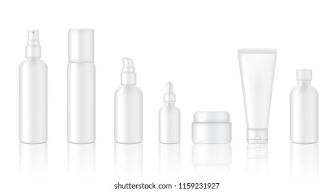 Mock up Realistic Glossy White Cosmetic Soap, Shampoo, Cream, Oil Dropper and Spray Bottles Set for Skincare Product Background Illustration