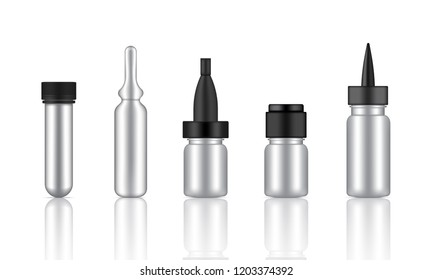 Mock up Realistic Metallic Cosmetic Serum, Ampoule, Oil Dropper Bottles Set for Skincare Product Background Illustration