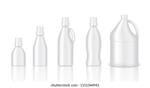 Mock up Realistic Plastic Gallon Packaging Product For Chemical Solution, Fabric Wash, Softener, Milk or Water Bottle isolated Background.