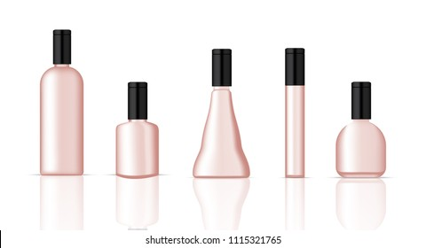 Mock up Realistic Plastic Rose Gold Packaging Product For Cosmetic Beauty, Perfume or Water Bottle isolated Background.
