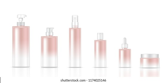 Mock up Realistic Rose Gold Color Cosmetic Soap, Shampoo, Cream, Oil Dropper and Spray Bottles Set for Skincare Product on White Background Illustration