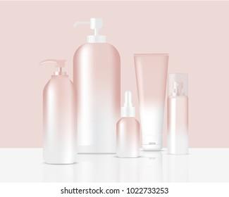 Mock up Realistic Rose Gold Pastel Bottles and Dropper Set Background
