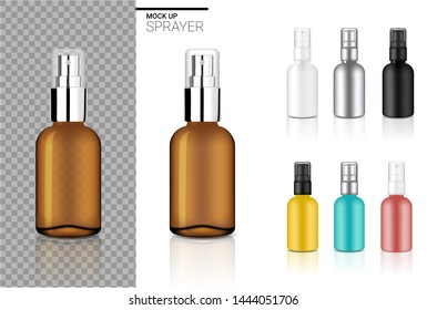 Mock up Realistic Spray Bottle Cosmetic Set Template with black, Transparent Amber, Silver, Rose gold, Blue and Yellow Colour on White Background Illustration