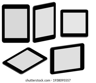 Mock up realistic tablet pc computer isolated on white background.
