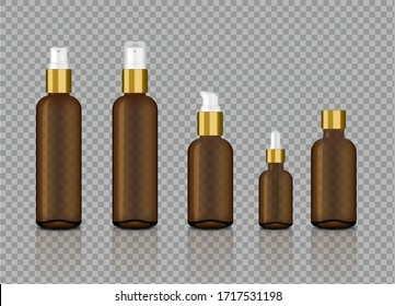 Mock up Realistic Transparent Amber and gold Spray Bottle for Cosmetic and  Skincare Dropper on Background Vector Illustration. Medical and Healthcare Concept Design.