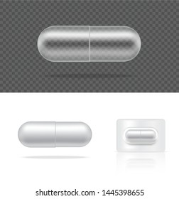 Mock up Realistic Transparent Pill Medicine Capsule Panel on White Background Vector Illustration. Tablets Medical and Health Concept.