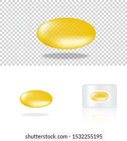Mock up Realistic Transparent Pill Yellow Medicine Panel on White Background Vector Illustration. Tablets Medical and Health Concept.