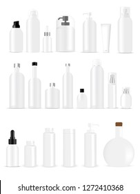 Mock up Realistic White Bottles Healthy and Cosmetic Packaging  Soap, Shampoo, Cream, Oil Dropper and Spray Set for Skincare Product  Background Illustration