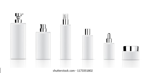 Mock up Realistic White Cosmetic Soap, Shampoo, Cream, Oil Dropper and Spray Bottles Set for Skincare Product with Metallic Cap on white Background Illustration