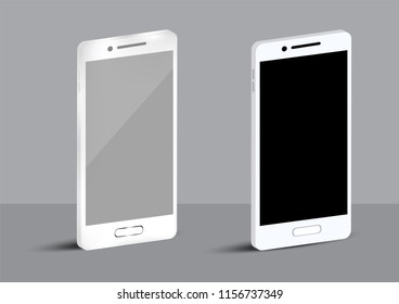 Mock up realistic White mobile and Flat Design cellphone for digital Technology Concept Background Vector Illustration