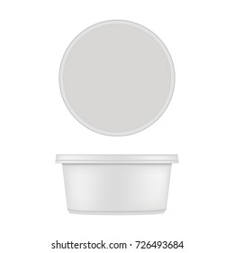 Mock up of round plastic tub for dessert. Vector isolated on white background.