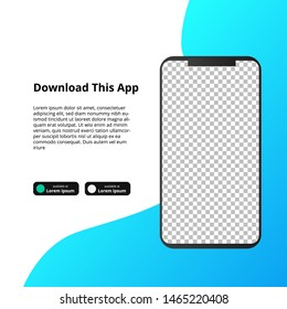 mock up screen smarthphone app for download software. banner social media template with fluid gradient background. can use for landing page