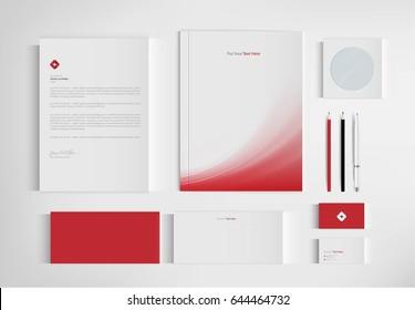 Mock up set business brand template of stationery. vector design.