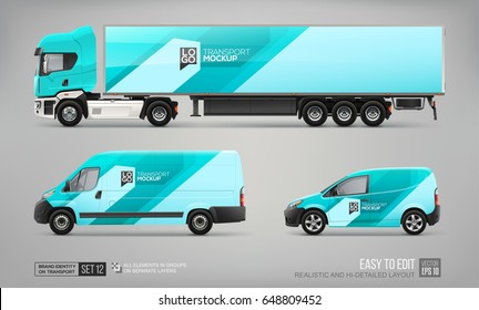 Mock up set of Cargo Truck, Delivery Van, Car template. Blue and turquoise color abstract graphic elements for corporate identity design on transport. Transport branding Mockup. Technology background
