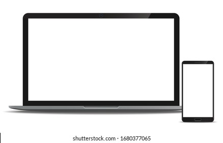 Mock up set Laptop and Smartphone realistic style mockup device set front view icons for user interface applications and responsive web design with a blank screen. Vector illustration