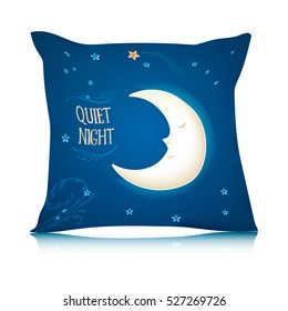 Mock up of square pillow with cartoon sleeping moon. Vector illustration