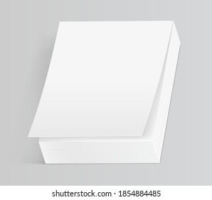 Mock up of tear off notebook or calendar isolated on gray background. 3d realistic mockup of blank paper book for tearing. Vector illustration