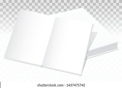 A mock two white paper books lying on the table. One on the other. The top book is open. White pages are ready to insert any text or image. Isolated on a transparent background. Vector.
